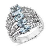 Premium AAA Espirito Santo Aquamarine, Cambodian Zircon Platinum Over Sterling Silver 5 Row Knuckle Ring (Size 6.0) TGW 3.60 cts.