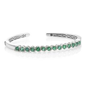 Premium Brazilian Emerald, Cambodian Zircon Platinum Over Sterling Silver Cuff (7.25 in) TGW 2.95 cts.