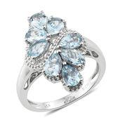 Espirito Santo Aquamarine Platinum Over Sterling Silver Ring (Size 9.0) TGW 2.64 cts.