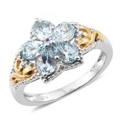 Espirito Santo Aquamarine 14K YG and Platinum Over Sterling Silver Openwork Floral Ring (Size 7.0) TGW 1.80 cts.