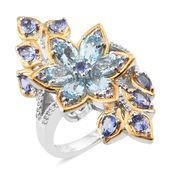 Premium AAA Espirito Santo Aquamarine, Tanzanite, Cambodian Zircon 14K YG and Platinum Over Sterling Silver Floral Split Elongated Bypass Concave Ring (Size 6.0) TGW 3.54 cts.