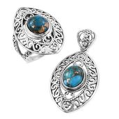 Customer Appreciation Day Artisan Crafted Mojave Blue Copper Turquoise Sterling Silver Ring (Size 10) and Pendant without Chain TGW 9.27 cts.