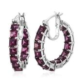 Purple Garnet Platinum Over Sterling Silver Inside Out Hoop Earrings TGW 7.50 cts.