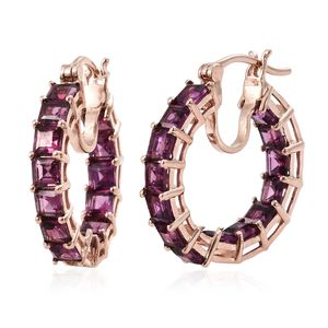 Purple Garnet Vermeil RG Over Sterling Silver Inside Out Hoop Earrings TGW 7.50 cts.
