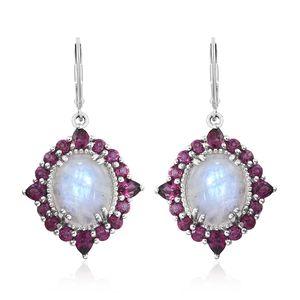 Rainbow Moonstone, Orissa Rhodolite Garnet Platinum Over Sterling Silver Lever Back Earrings TGW 14.42 cts.