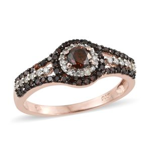 Red Diamond (IR), Diamond Vermeil RG Over Sterling Silver Ring (Size 8.0) TDiaWt 1.00 cts, TGW 1.00 cts.