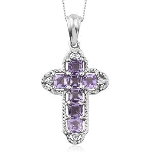 Asscher Cut Rose De France Amethyst, Cambodian Zircon Platinum Over Sterling Silver Cross Pendant With Chain (20 in) TGW 2.18 cts.