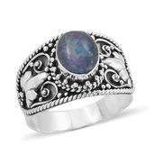 Bali Legacy Collection Australian Boulder Opal Sterling Silver Ring (Size 11.0) TGW 1.75 cts.
