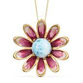 GP Larimar, Kanchanaburi Blue Sapphire Vermeil YG Over Sterling Silver Daisy Flower Pendant With Chain (20 in) TGW 4.13 cts.