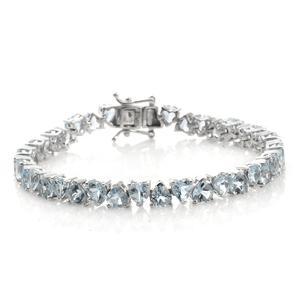 Espirito Santo Aquamarine Platinum Over Sterling Silver Heart Cut Tennis Bracelet (7.50 In) TGW 15.42 cts.