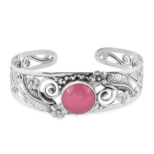 Bali Legacy Collection Burmese Pink Jade Sterling Silver Openwork Cuff (7.50 in) TGW 12.76 cts.