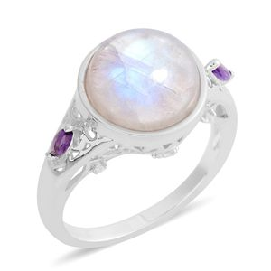 Rainbow Moonstone, Multi Gemstone Sterling Silver Ring (Size 7.0) TGW 7.95 cts.