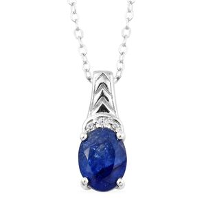 Masoala Sapphire, Cambodian Zircon Platinum Over Sterling Silver Pendant With Chain (20 in) TGW 1.79 cts.