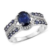 Masoala Sapphire, Catalina Iolite, Cambodian Zircon Platinum Over Sterling Silver Ring (Size 11.0) TGW 3.60 cts.