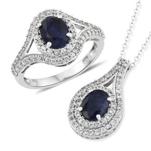 Masoala Sapphire, Cambodian Zircon Platinum Over Sterling Silver Ring (Size 5) and Pendant With Chain (20 in) TGW 6.85 cts.