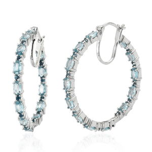Cambodian Blue Zircon, London Blue Topaz Platinum Over Sterling Silver Inside Out Hoop Earrings TGW 9.31 cts.