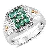 Premium Brazilian Emerald, Cambodian Zircon 14K YG and Platinum Over Sterling Silver Men's Ring (Size 9.0) TGW 1.68 cts.