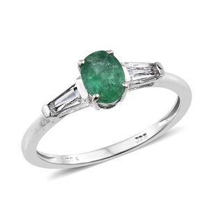 Premium Brazilian Emerald, White Topaz Platinum Over Sterling Silver Ring (Size 9.0) TGW 1.05 cts.