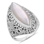 Bali Legacy Collection Mother of Pearl Sterling Silver Ring (Size 7.0)
