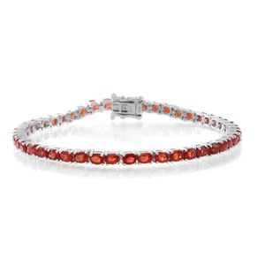 Red Sapphire Sterling Silver Bracelet (6.50 In) Total Gem Stone Weight 7.60 Carat
