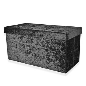Mother's Day Special Black Velvet Foldable Storage Ottoman (30x15x15 in)
