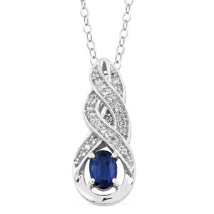 Himalayan Kyanite, Cambodian Zircon Platinum Over Sterling Silver Pendant With Stainless Steel Chain (20 in) TGW 0.90 cts.