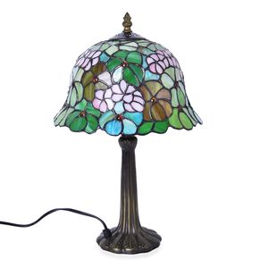 Home Decor Green Resin, Glass Tiffany Style Leaf Mosaic Table Lamp (10 in) (Requires E-26 Bulb Adapter Included)