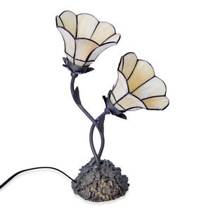 One Time Only White Floral Engraved Tiffany Style Dual Table Lamp (14 in) (Requires E-12 Bulb Adapter Included)