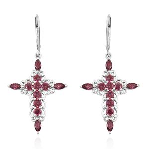 J Francis - Platinum Over Sterling Silver Cross Lever Back Earrings Made with Red SWAROVSKI ZIRCONIA TGW 4.58 cts.