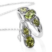 Hebei Peridot Platinum Over Sterling Silver Ring (Size 5) and Pendant With Chain (20 in) TGW 2.20 cts.