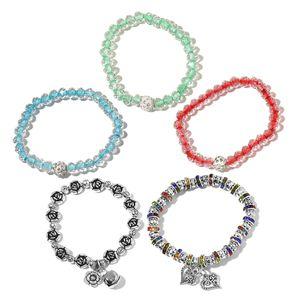 White Glass, Resin, Multi Color Austrian Crystal Iron Set of 5 Bracelet TGW 263.00 cts.