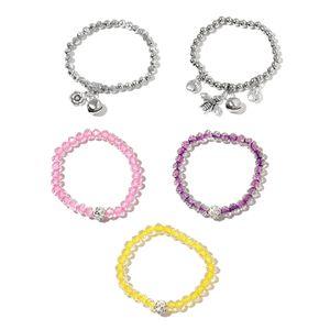 Set of 5 Simulated Diamond, Austrian Crystal Silvertone Charm Bracelets (Stretchable)