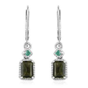 Bohemian Moldavite, Kagem Zambian Emerald Platinum Over Sterling Silver Lever Back Earrings TGW 1.52 cts.