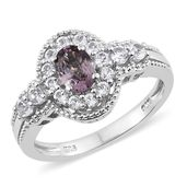 Burmese Lavender Spinel, White Topaz Platinum Over Sterling Silver Ring (Size 6.0) TGW 1.90 cts.