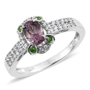 Burmese Lavender Spinel, Russian Diopside, Cambodian Zircon Platinum Over Sterling Silver Ring (Size 5.0) TGW 1.32 cts.