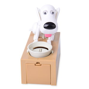 White Spotty Dog Eat Coin Bank Box (6.5x3.19x6.6 in)