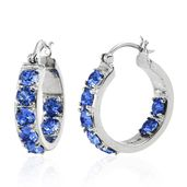 Stainless Steel Hoop Earrings Made with SWAROVSKI Blue Sapphire Crystal TGW 3.70 cts.