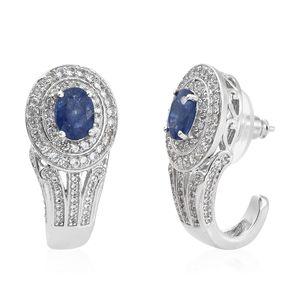 Masoala Sapphire, Cambodian Zircon Platinum Over Sterling Silver Earrings TGW 5.42 cts.