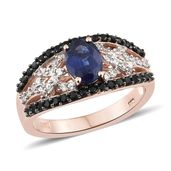 Masoala Sapphire, Thai Black Spinel, Cambodian Zircon Vermeil RG Over Sterling Silver Ring (Size 7.0) TGW 3.43 cts.