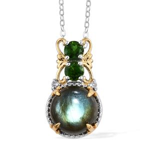 Malagasy Labradorite, Multi Gemstone 14K YG and Platinum Over Sterling Silver Pendant With Chain (20 in) TGW 5.58 cts.
