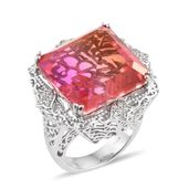 Arizona Sunset Quartz, Cambodian Zircon Platinum Over Sterling Silver Ring (Size 7.0) TGW 38.51 cts.