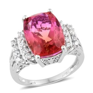Arizona Sunset Quartz, Cambodian Zircon Platinum Over Sterling Silver Ring (Size 7.0) TGW 11.90 cts.