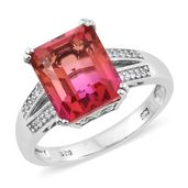 Arizona Sunset Quartz, Cambodian Zircon Platinum Over Sterling Silver Ring (Size 8.0) TGW 7.68 cts.