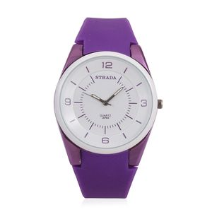 STRADA Japanese Movement Water Resistant Watch with Purple Silicone Band and Stainless Steel Back