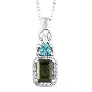 Bohemian Moldavite, Multi Gemstone Platinum Over Sterling Silver Pendant With Chain (20 in) TGW 1.27 cts.