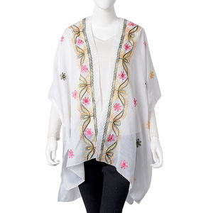 White 100% Polyester Embroidered Floral Pattern Kimono (31.5x35.44 in)