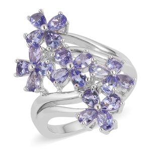 Tanzanite Sterling Silver Elongated Floral Bypass Ring (Size 8.0) TGW 2.75 cts.