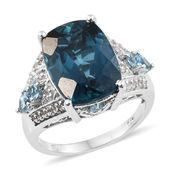 London Blue Topaz, Electric Blue Topaz, White Topaz Platinum Over Sterling Silver Ring (Size 7.0) TGW 15.31 cts.