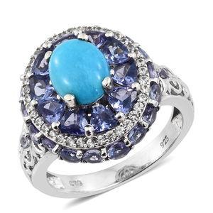 Arizona Sleeping Beauty Turquoise, Multi Gemstone Platinum Over Sterling Silver Ring (Size 7.0) TGW 8.25 cts.