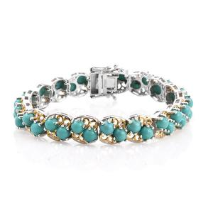 Sonoran Blue Turquoise 14K YG and Platinum Over Sterling Silver Bracelet (7.25 In) TGW 20.90 cts.